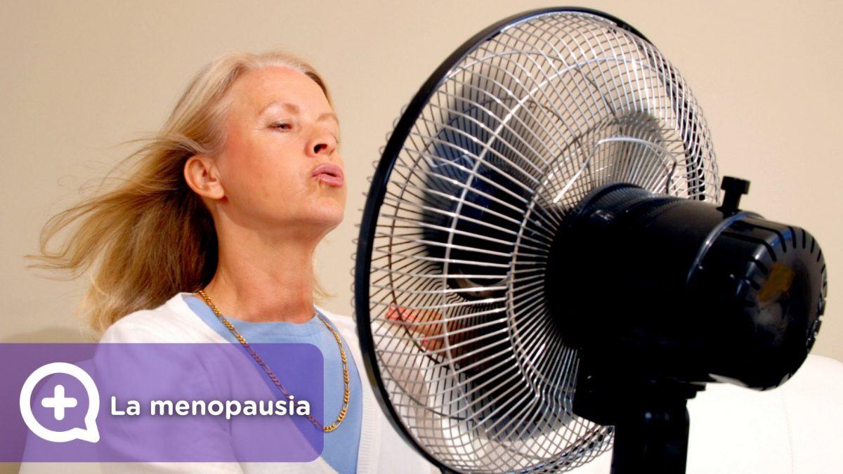 Mujer delante del ventilador, con sofocos cuando tiene la menopausia. Hormonas revolucionadas.