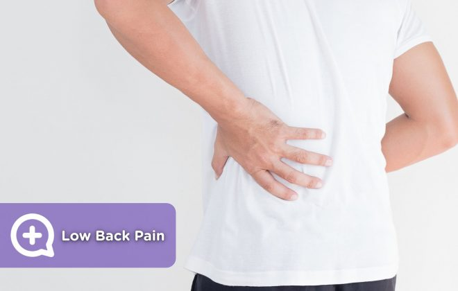 Man with back pain, cervical pain and low back pain, with his hand on his back