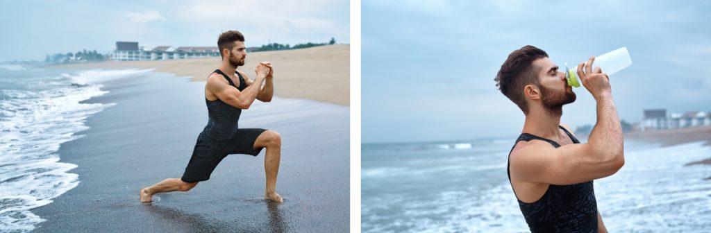 chico realizando deporte en la playa, zancadas e hidratación