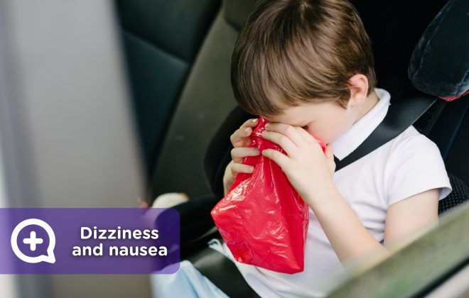 Child or adult dizzy in the car, with nausea
