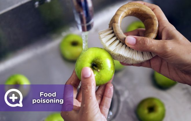Food poisoning. Wash fruits and vegetables well before eating them.