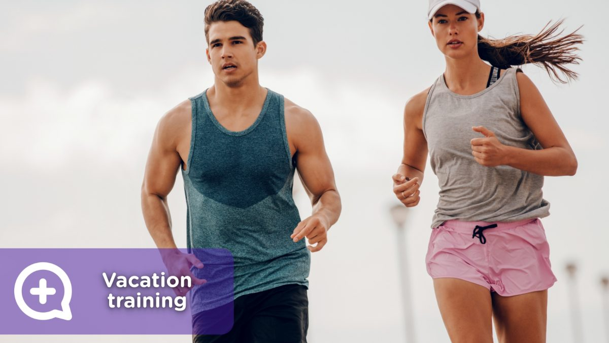 Training, exercise, fitness performed during the holidays at the beach.