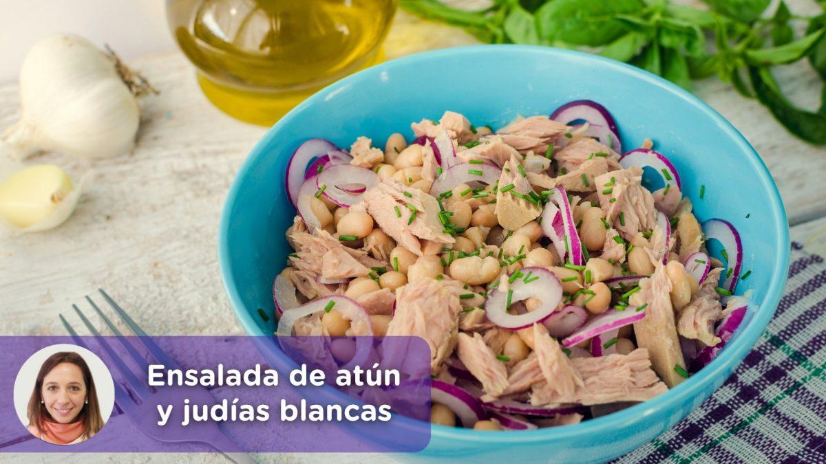 Receta, ensalada de atún y judías blancas. Cristina Romagosa, nutricionista. MediQuo, Tu amigo médico. Chat médico.