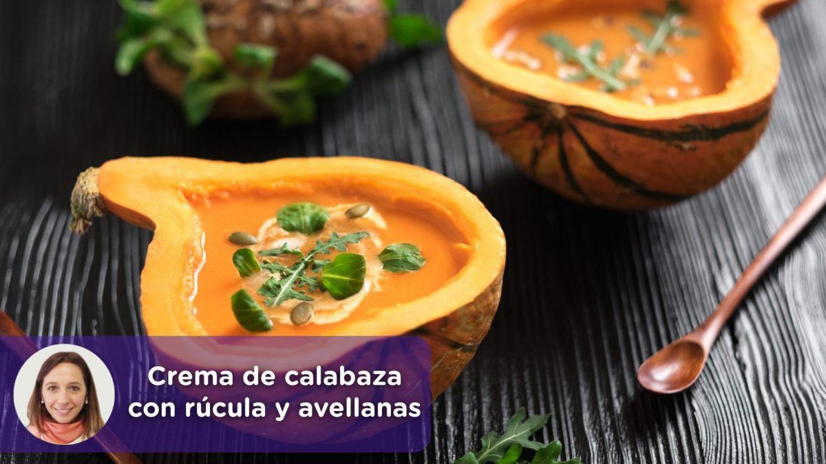 Crema de calabaza con rúcula y avellanas, nutrición, recetas, mediquo, Cristina Romagosa.