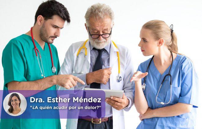 Acudir por dolor, médico de cabecera, especialistas, clínica del dolor. Mediquo, Tu amigo médico. Chat médico. Esther Méndez.