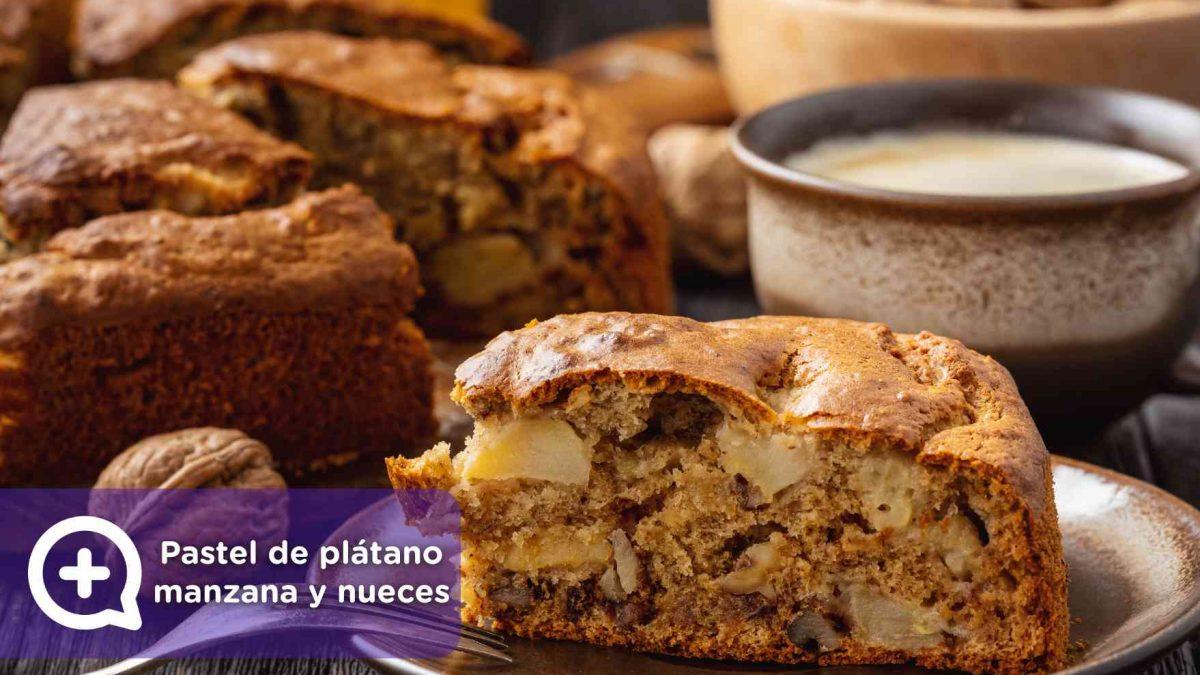Receta, pastel de plátano, manzana y nueces. Repostería. Mediquo. Salud. Nutrición.
