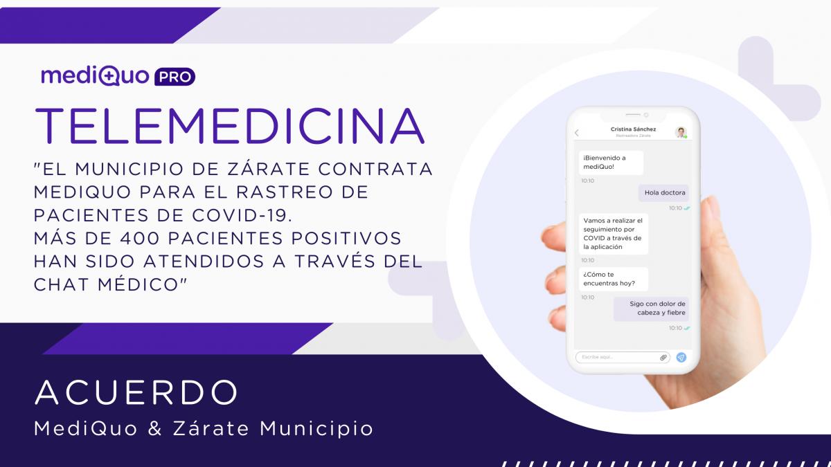 MediQuo y Zárate Municipio. Blog. Acuerdo de colaboración. Caso de éxito. Chat médico. Telemedicina. Seguimiento pacientes covid. Médicos. Rastreador.