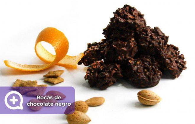 rocas de chocolate, receta, postre, almendras, sin azúcar, recetas fáciles. salud, nutrición, mediquo.