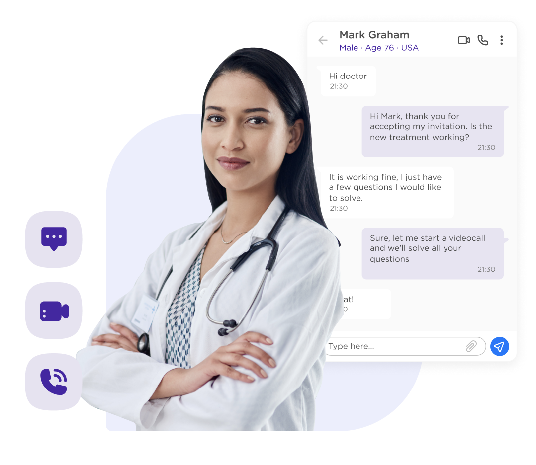 doctor, physician, sanitary professional. Chat, call, videocall.