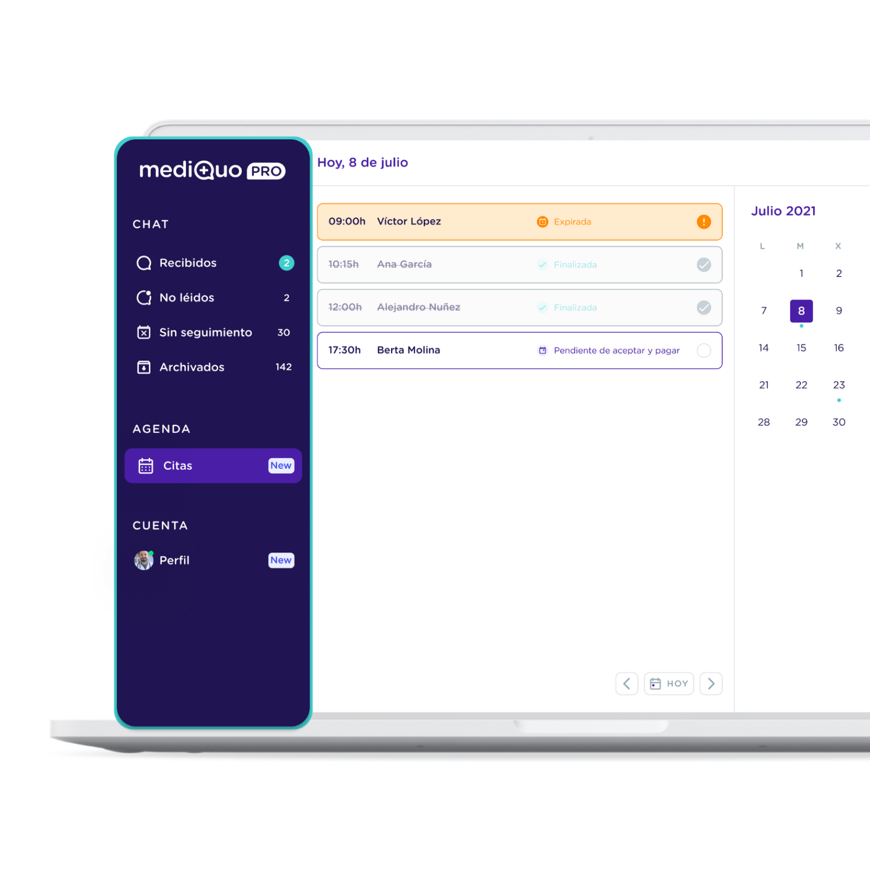 Agenda digital consola web_MediQuo PRO